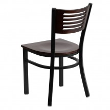 Flash Furniture XU-DG-6G5B-WAL-MTL-GG HERCULES Series Black Decorative Slat Back Metal Restaurant Chair with Walnut Wood Back and Seat addl-1