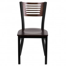 Flash Furniture XU-DG-6G5B-WAL-MTL-GG HERCULES Series Black Decorative Slat Back Metal Restaurant Chair with Walnut Wood Back and Seat addl-2