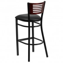 Flash Furniture XU-DG-6H1B-MAH-BAR-BLKV-GG HERCULES Series Black Decorative Slat Back Metal Restaurant Barstool with Mahogany Wood Back and Black Vinyl Seat addl-1