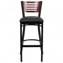 Flash Furniture XU-DG-6H1B-MAH-BAR-BLKV-GG HERCULES Series Black Decorative Slat Back Metal Restaurant Barstool with Mahogany Wood Back and Black Vinyl Seat addl-2