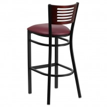 Flash Furniture XU-DG-6H1B-MAH-BAR-BURV-GG HERCULES Series Black Decorative Slat Back Metal Restaurant Barstool - Mahogany Wood Back, Burgundy Vinyl Seat addl-1