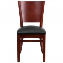 Flash Furniture XU-DG-W0094B-MAH-BLKV-GG Lacey Series Solid Back Mahogany Wooden Restaurant Chair - Black Vinyl Seat addl-2