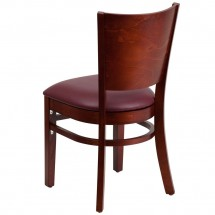 Flash Furniture XU-DG-W0094B-MAH-BURV-GG Lacey Series Solid Back Mahogany Wooden Restaurant Chair - Burgundy Vinyl Seat addl-1