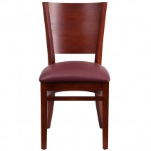 Flash Furniture XU-DG-W0094B-MAH-BURV-GG Lacey Series Solid Back Mahogany Wooden Restaurant Chair - Burgundy Vinyl Seat addl-2