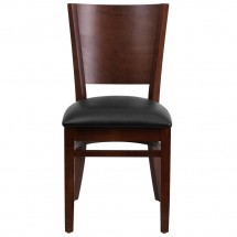 Flash Furniture XU-DG-W0094B-WAL-BLKV-GG Lacey Series Solid Back Walnut Wooden Restaurant Chair with Black Vinyl Seat addl-2