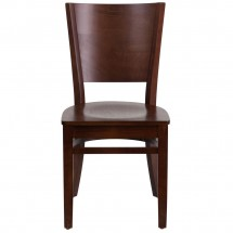 Flash Furniture XU-DG-W0094B-WAL-WAL-GG Lacey Series Solid Back Walnut Wooden Restaurant Chair addl-2