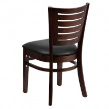 Flash Furniture XU-DG-W0108-WAL-BLKV-GG Darby Series Slat Back Walnut Wooden Restaurant Chair with Black Vinyl Seat addl-1