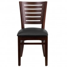 Flash Furniture XU-DG-W0108-WAL-BLKV-GG Darby Series Slat Back Walnut Wooden Restaurant Chair with Black Vinyl Seat addl-2