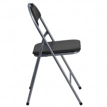 Flash Furniture YB-YJ806H-GG HERCULES Series Black Vinyl Metal Folding Chair with Carrying Handle addl-4