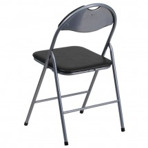 Flash Furniture YB-YJ806H-GG HERCULES Series Black Vinyl Metal Folding Chair with Carrying Handle addl-1