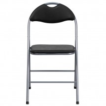 Flash Furniture YB-YJ806H-GG HERCULES Series Black Vinyl Metal Folding Chair with Carrying Handle addl-2