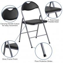 Flash Furniture YB-YJ806H-GG HERCULES Series Black Vinyl Metal Folding Chair with Carrying Handle addl-5
