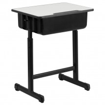 Flash Furniture YU-YCY-046-GG Grey Top Student Desk with Adjustable Height Black Pedestal Frame addl-1