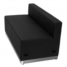 Flash Furniture ZB-803-LS-BK-GG HERCULES Alon Series Black Leather Loveseat with Brushed Stainless Steel Base addl-1