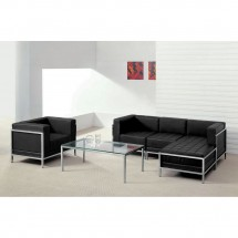 Flash Furniture ZB-IMAG-SET12-GG HERCULES Imagination Series Black Leather Sectional and Chair, 5 Piece addl-3