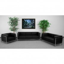 Flash Furniture ZB-IMAG-SET1-GG HERCULES Imagination Series Black Leather Sofa Set, 3 Piece addl-3