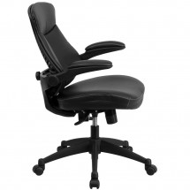 Flash Furniture BL-ZP-804-GG Mid-Back Black Leather Executive Swivel Chair with Back Angle Adjustment and Flip-Up Arms addl-1
