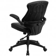Flash Furniture BL-ZP-804-GG Mid-Back Black Leather Executive Swivel Chair with Back Angle Adjustment and Flip-Up Arms addl-2