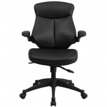 Flash Furniture BL-ZP-804-GG Mid-Back Black Leather Executive Swivel Chair with Back Angle Adjustment and Flip-Up Arms addl-3