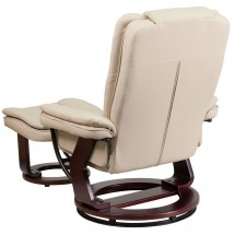 Flash Furniture BT-7818-BGE-GG Contemporary Beige Leather Recliner / Ottoman with Swiveling Mahogany Wood Base addl-2