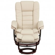 Flash Furniture BT-7818-BGE-GG Contemporary Beige Leather Recliner / Ottoman with Swiveling Mahogany Wood Base addl-3