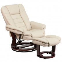 Flash Furniture BT-7818-BGE-GG Contemporary Beige Leather Recliner / Ottoman with Swiveling Mahogany Wood Base addl-4