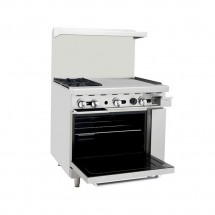 Atosa ATO-2B24G 36 Gas Range with (2) Open Burners and 24 Right Side Griddle, 26 1/2 Oven addl-1