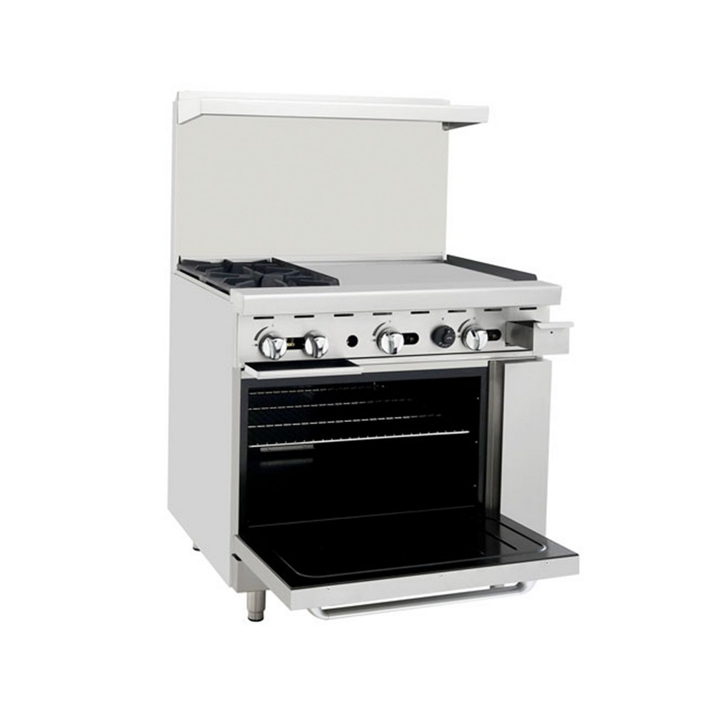 Atosa Ato 2b24g 36 Gas Range With 2 Open Burners And 24 Right Side Griddle  Oven