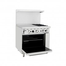 Atosa ATO-24G2B 36 Gas Range with (2) Open Burners and 24 Left Side Griddle, 26 1/2 Oven addl-1