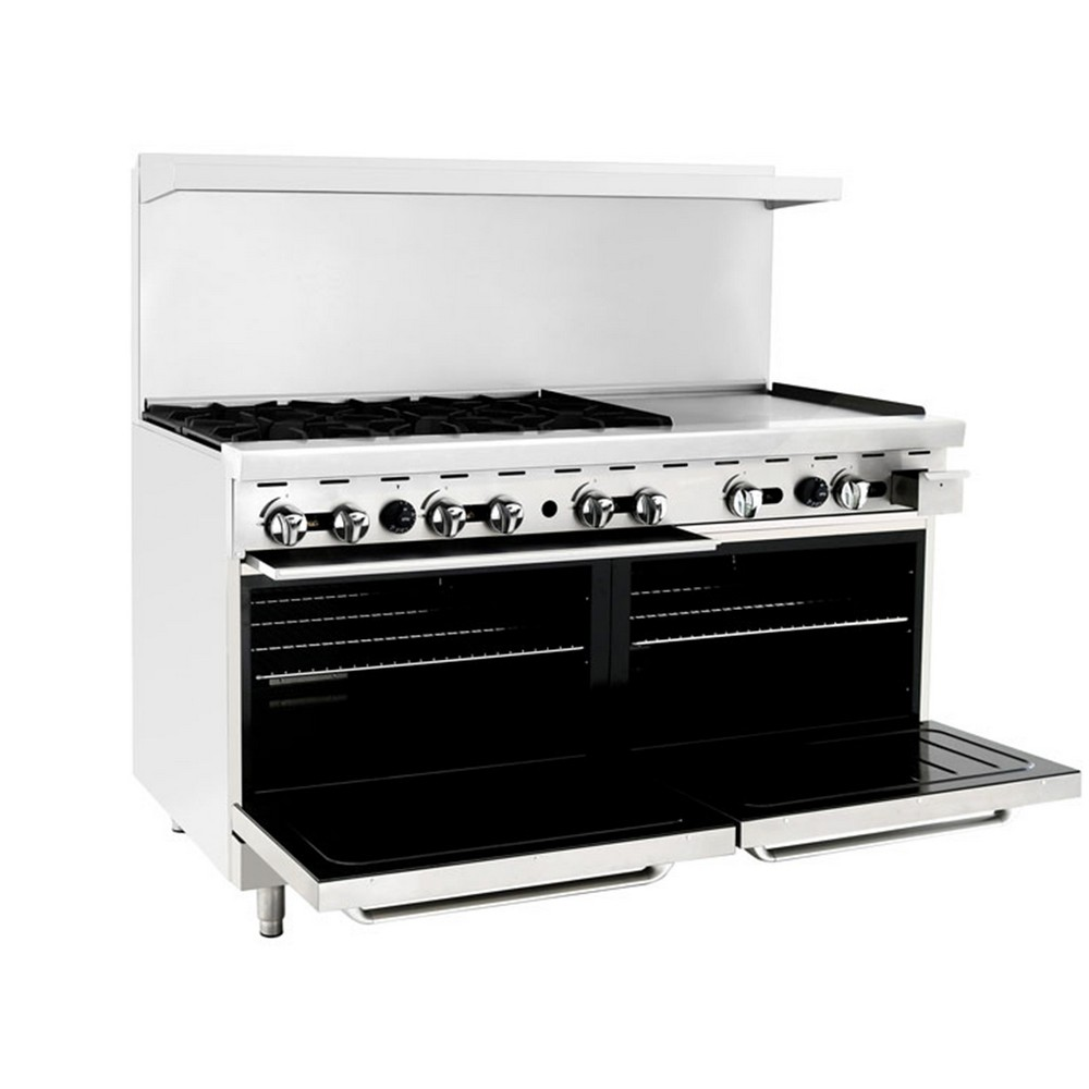 Atosa Ato 6b24g 60 Gas Range With 6 Open Burners And 24 Right Side Griddle  2 Ovens