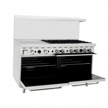 Atosa ATO-24G6B 60 Gas Range with (6) Open Burners and 24 Left Side Griddle, (2) 26-1/2 Ovens addl-1