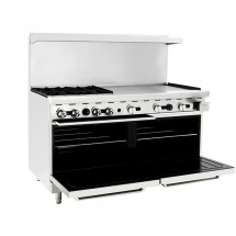 Atosa ATO-4B36G 60 Gas Range with (4) Open Burners and 36 Right Side Griddle, (2) 26 1/2 Ovens addl-1