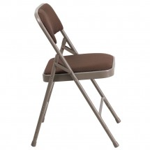 Flash Furniture AW-MC309AF-BRN-GG HERCULES Curved Triple Braced & Double-Hinged Brown Patterned Fabric Metal Folding Chair addl-1