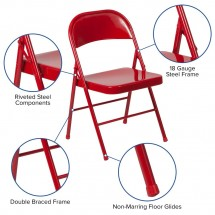 Flash Furniture BD-F002-RED-GG HERCULES Double Braced Red Metal Folding Chair addl-5