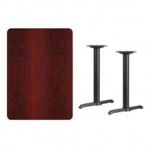 Flash Furniture XU-MAHTB-3042-T0522-GG 30 x 42 Rectangular Mahogany Laminate Table Top with 5 x 22 Table Height Bases addl-1