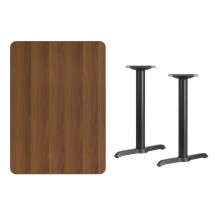 Flash Furniture XU-WALTB-3042-T0522-GG 30 x 42 Rectangular Walnut Laminate Table Top with 5 x 22 Table Height Bases addl-1