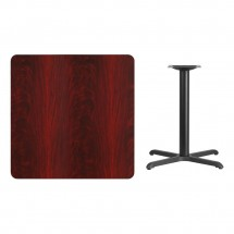 Flash Furniture XU-MAHTB-3636-T3030-GG 36 Square Mahogany Laminate Table Top with 30 x 30 Table Height Base addl-1
