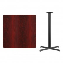 Flash Furniture XU-MAHTB-3636-T3030B-GG 36 Square Mahogany Laminate Table Top with 30 x 30 Bar Height Table Base addl-1