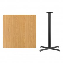 Flash Furniture XU-NATTB-3636-T3030B-GG 36 Square Natural Laminate Table Top with 30 x 30 Bar Height Table Base addl-1
