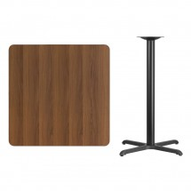 Flash Furniture XU-WALTB-3636-T3030B-GG 36 Square Walnut Laminate Table Top with 30 x 30 Bar Height Table Base addl-1