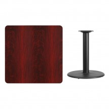 Flash Furniture XU-MAHTB-3636-TR24-GG 36 Square Mahogany Laminate Table Top with 24 Round Table Height Base addl-1