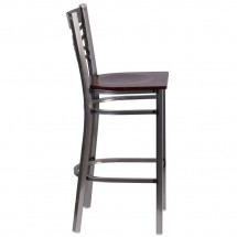 Flash Furniture XU-6F8B-CLR-BAR-WALW-GG HERCULES Clear Coated X Back Metal Restaurant Barstool - Walnut Wood Seat addl-1