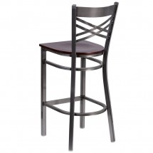 Flash Furniture XU-6F8B-CLR-BAR-WALW-GG HERCULES Clear Coated X Back Metal Restaurant Barstool - Walnut Wood Seat addl-2