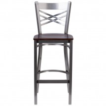 Flash Furniture XU-6F8B-CLR-BAR-WALW-GG HERCULES Clear Coated X Back Metal Restaurant Barstool - Walnut Wood Seat addl-3