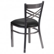 Flash Furniture XU-6FOB-CLR-BLKV-GG HERCULES Clear Coated X Back Metal Restaurant Chair - Black Vinyl Seat addl-2