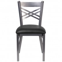 Flash Furniture XU-6FOB-CLR-BLKV-GG HERCULES Clear Coated X Back Metal Restaurant Chair - Black Vinyl Seat addl-3