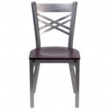 Flash Furniture XU-6FOB-CLR-MAHW-GG HERCULES Clear Coated X Back Metal Restaurant Chair - Mahogany Wood Seat addl-3