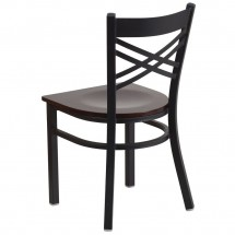 Flash Furniture XU-6FOBXBK-WALW-GG HERCULES Black X Back Metal Restaurant Chair - Walnut Wood Seat addl-2