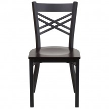 Flash Furniture XU-6FOBXBK-WALW-GG HERCULES Black X Back Metal Restaurant Chair - Walnut Wood Seat addl-3