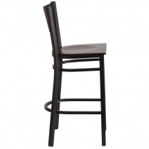 Flash Furniture XU-DG-60116-GRD-BAR-WALW-GG HERCULES Black Grid Back Metal Restaurant Barstool - Walnut Wood Seat addl-1